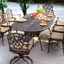 outdoor dining table metal. blackish brown oval classic metal outdoor patio table and chairs stained design for dining