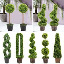 details about realistic large potted topiary tree outdoor indoor artificial plant bush trees