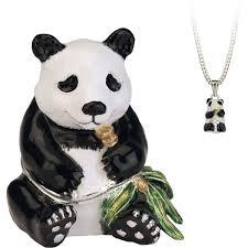 Hidden Treasures By Arora Design Uk Secrets Panda Bear Trinket Box With Hidden Pendant Necklace