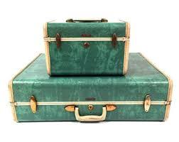 vintage luggage. mid century samsonite luggage set - train case suitcase vintage i