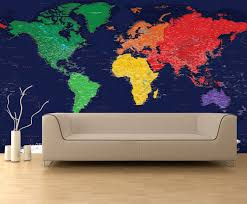 dark oceans world political map wall mural in room