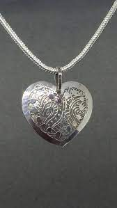 heart sterling silver etched pendant