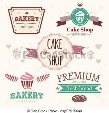 Abstract Vector Cake Vintage Logo Elements Set Cakes Bread Bakery