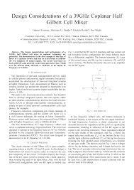 Gilbert Cell Design Design Considerations Of A 39ghz Coplanar Half Gilbert Cell