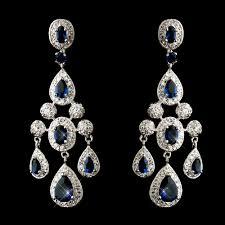 park avenue cubic zirconia cz chandelier earrings sapphire blue