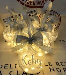 Personalised Light Up Christmas Baubles Personalised Light Up Glass Bauble Large