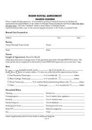 Room Rental Agreement Template California Month To Month Rental ...