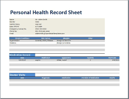 Personal Health Record Forms Personal Medical Health Record Worksheet Template Word