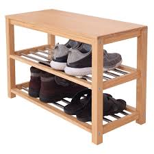3 tier wooden shoe rack bench stainless steel shelf organizer seat stand
