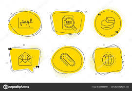 Web Mail Pie Chart And Stock Analysis Icons Set Paper Clip
