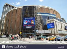 entrance to pennsylvania station and madison square garden new york city usa
