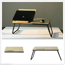 portable folding laptop table stand desk wooden lap bed tray computer notebook