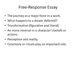 response essays prose passage generally one page excerpt from a   response essay the journey as a major force in a work