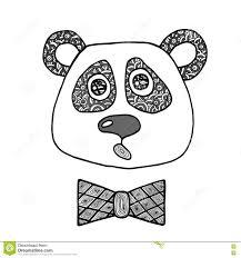 вручите вычерченную черную линию голову мальчика панды иллюстрация