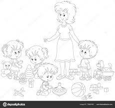 Immagini Maestra Con Bambini Bambini Bambine Che Giocano Con