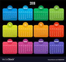 2018 Calendar Color Design On Black Background Vector Image