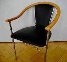 4 Esszimmer Stühle Armlehnen Polster Kunstleder Chrom Holz