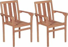 stacking garden chairs 2 pcs solid teak