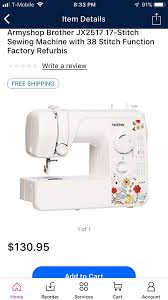 Brother Jx2517 17 Stitch Sewing Machine With 38 Stitch Function