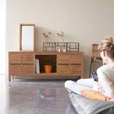 Teak Living Room Furniture Plasma Tv Stand Milano Teak Tv Table At Tikamoon
