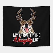 Reindeer English Bulldog Christmas He Ate Naughty List T Shirt