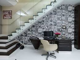 Image Interior Space Under The Stairs Turned Into Captivating Home Workspace design Henrietta Holroyd Decoist 30 Black And White Home Offices That Leave You Spellbound