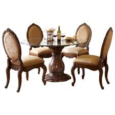 aico furniture lavelle melange 5 piece 54 round glass top dining table set 54001 101 34 5set great furniture deal