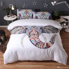 3d reactive print bedding sets fashion animal bedclothes elephant flower pattern twin queen king uk queen size polyester cotton 3d bedding sets pillow