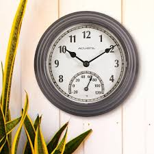 gray outdoor clock thermometer