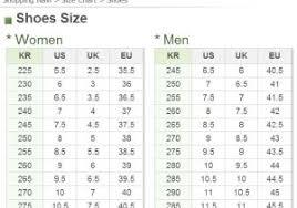 Korean Shoe Size Chart Wim S Kimono Page For Men Glossary