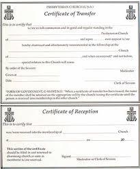 Church Membership Transfer Letter Template Monmouth Prestery Clerks