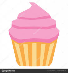 Cartoon Cupcake Isolated On White Background Stock Vector