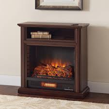 rolling mantel infrared electric fireplace in cherry