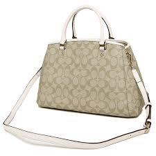 Coach Signature Small Margot Carryall Crossbody Bag Light Khaki   Chalk  White   F34608