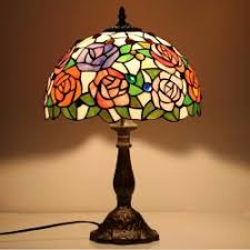 tiffany lamp shade. Jld-8351 Vintage Stained Glass Rose Flower Table Lamp, 12 Inches Lampshade Tiffany Lamp Shade N