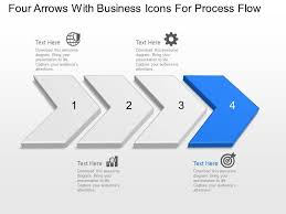 Powerpoint Bg Bg Four Arrows With Business Icons For Process Flow