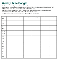 Budget Forms For Home Free Weekly Budget Template Download Weekly Time Budget Template