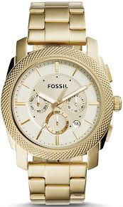men s fossil machine chronograph gold tone steel watch fs5193
