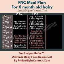 5 Month Old Baby Food Chart Fnc Meal Plan For Babies 6 To 8 Months Friday Night Column