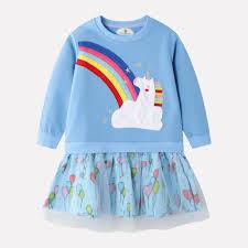 Light Blue Baby Dress Light Blue Baby Toddler Rainbow Cartoon Mesh Splicing Cute Sweatshirt Dress