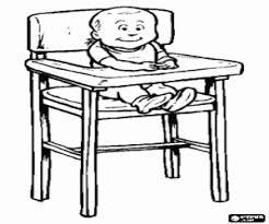 Kleurplaat De Baby In De Hoge Stoel Om Te Eten Kleurplaten