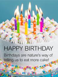Eat More Cake Happy Birthday Wish Card Birthday Greeting Cards
