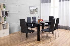 pivero black high gloss dining table and 6 milan dining chairs set