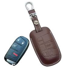 2019 leather car key fob cover case for jeep grand cherokee longitude for dodge jcuv journey dart key holder chain chrysler fiat auto accessories from