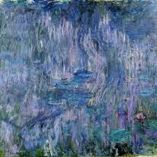 waterlilies and reflections of a willow tree by claude monet painting print on wrapped