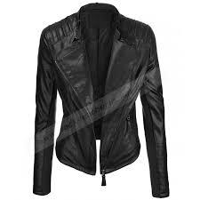 womens black faux leather bike rider jacket