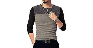 NEOYOWO Mens Patchwork Shirt <b>Long Sleeve</b> Contrast Color T ...