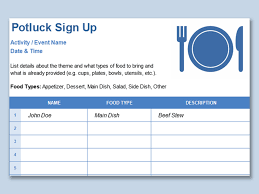 008 Template Ideas Potluck Signup Sheet Word Awesome Snack