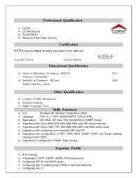 Sample Resume For Ccna Certified