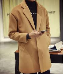 men s fashion wool blend single ted long trench coat long jacket outwear